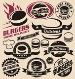 Burger icons, labels, signs, symbols and design elements Stock Image