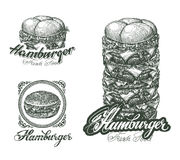 Burger icons, labels, signs, symbols and design Royalty Free Stock Photography
