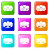 Burger icons 9 set Royalty Free Stock Images