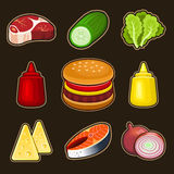 Burger icons set Royalty Free Stock Images