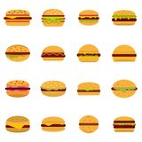 Burger icons set vector flat. Burger icons set. Flat illustration of 16 burger vector icons isolated on white background Stock Image