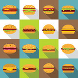 Burger icons set, flat style Royalty Free Stock Image