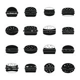Burger icons set, simple style. Burger icons set. Simple illustration of 16 burger vector icons for web Stock Photo