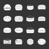 Burger icons set grey vector. Burger icons set vector white isolated on grey background Stock Photography