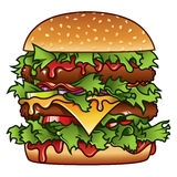 Burger Illustration. Detailed illustration of a tasty burger that has got it all Royalty Free Stock Photos