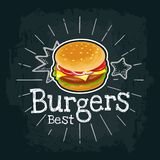 Burger include cutlet, tomato, cheese and salad. Vector flat illustration. Burger include cutlet, tomato, cheese and salad. Vector color flat illustration for Royalty Free Stock Photography