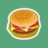 Burger include cutlet, tomato, cheese and salad. Vector flat illustration Royalty Free Stock Photos