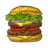 Burger include cutlet, tomato, cucumber, salad. Vector black vintage engraving Stock Photos