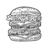 Burger include cutlet, tomato, cucumber, salad. Vector black vintage engraving. Double burger include cutlet, tomato, cucumber and salad isolated on white Royalty Free Stock Image