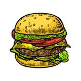 Burger include cutlet, tomato, cucumber and salad  on white background. Royalty Free Stock Photos