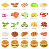 Burger ingredient icons set, isometric style. Burger ingredient icons set. Isometric illustration of 25 burger ingredient food vector icons for web Stock Photos