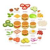 Burger ingredient icons set, isometric style. Burger ingredient icons set. Isometric illustration of 25 burger ingredient food vector icons for web Stock Image