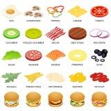 Burger ingredient icons set, isometric style. Burger ingredient icons set. Isometric illustration of 25 burger ingredient food vector icons for web Stock Photography
