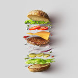 Burger Ingredients Against White Background Stock Image