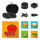 Burger and ingredients black, flat icons in set collection for design. Burger cooking vector symbol stock web. Burger and ingredients black, flat icons in set Stock Photography