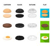 Burger and ingredients cartoon,black,outline,flat icons in set collection for design. Burger cooking vector symbol stock. Illustration Stock Image