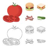 Burger and ingredients cartoon,outline icons in set collection for design. Burger cooking vector symbol stock web. Burger and ingredients cartoon,outline icons Stock Photos