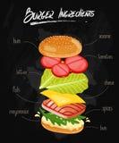Burger Ingredients on Chalkboard Stock Image