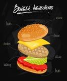 Burger Ingredients on Chalkboard Stock Photos