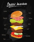 Burger Ingredients on Chalkboard. Isolated burger parts on chalkboard. Burger with signed ingredients. Set food burger. Double burger eith bacon. Illustration Stock Image