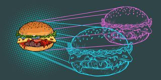 Burger ingredients, fast food restaurant Royalty Free Illustration