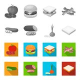 Burger and ingredients monochrome,flat icons in set collection for design. Burger cooking vector symbol stock web. Burger and ingredients monochrome,flat icons Stock Photography