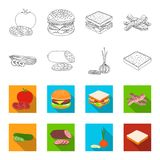 Burger and ingredients outline,flet icons in set collection for design. Burger cooking vector symbol stock web. Burger and ingredients outline,flet icons in set Stock Images