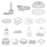 Burger and ingredients outline icons in set collection for design. Burger cooking vector symbol stock web illustration. Burger and ingredients outline icons in Stock Photo
