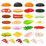 Burger ingredients set. Delicious hamburger recipe step-by-step with main ingredients, minced fried or grilled, vegetables, bun. Vector flat style cartoon Stock Photos