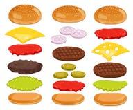 Burger Ingredients Set on White Background Royalty Free Stock Photos