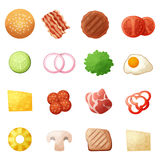 Burger ingredients top view icons set, cartoon style Royalty Free Stock Photography