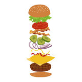 Burger and ingredients   vector infographics illustration. Royalty Free Stock Photos
