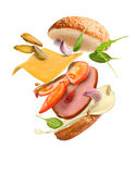 Burger with ingredients. On a white background Royalty Free Stock Images