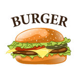 Burger isolated on white background. Cheeseburger vector illustration. Royalty Free Stock Photography