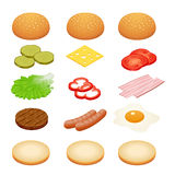 Burger isometric. Burger ingredients on white backgrounds. Ingredients for burgers and sandwiches. Fried egg, onions. Beef, cheese, cucumbers and other Stock Photos