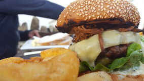 burger juicy Στοκ φωτογραφία με δικαίωμα ελεύθερης χρήσης