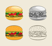 Burger with juicy beef. Burger with juicy beef, fresh lettuce, tomatoes, cucumbers, cheese and ketchup. Vector illustration of a delicious hamburger menu for Stock Photo