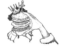 Burger with jumbo size illustrations. Black and white Stock Image