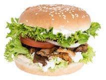 Burger Kebab στην άσπρη ανασκόπηση Στοκ φωτογραφία με δικαίωμα ελεύθερης χρήσης