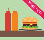 Burger with ketchup and mustard. In flat style Royalty Free Stock Images