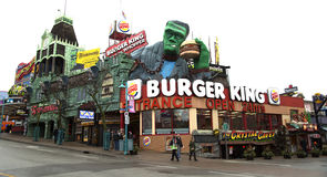 Burger king fast food in Niagara Falls. NIAGARA FALLS, CANADA-JANUARY 11, 2016:  Burger king restaurant in Niagara falls with Frankenstein eating a whopper Royalty Free Stock Images
