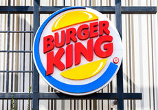 Burger King fastfood restuarant sign. ST. PETERSBURG, RUSSIA - JULY 31, 2016: Burger King fastfood restuarant sign. Burger King is an American global chain of Stock Photo