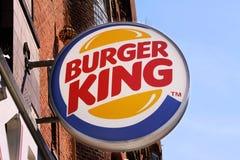 Burger King hamburger restaurant sign on a building. Burger King is an American global chain of hamburger fast food restaurants he. Copenhagen, Denmark - June 26 stock photos