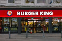 Burger King restauracja w centrum Machester Obraz Royalty Free