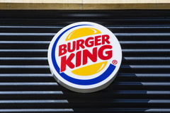 Burger King Restaurant. PETERBOROUGH, UK - MAY 22ND 2017: The Burger King logo above one of their restaurants in Peterborough, UK, on 22nd May 2017 Stock Image