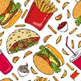 Burger, Kolabaum-Schale mit Stroh, Pommes-Frites, Ketschup, Falafel-Pittabrot oder Fleischklöschen-Salat in der Taschen-Brot-Majo Lizenzfreies Stockbild