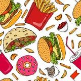 Burger, Kolabaum-Schale mit Stroh, Pommes-Frites, Ketschup, Falafel-Pittabrot oder Fleischklöschen-Salat, Soße, Donut Schnelles S Lizenzfreies Stockbild