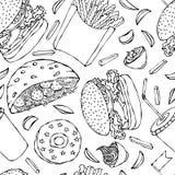 Burger, Kolabaum-Schale mit Stroh, Pommes-Frites, Ketschup, Falafel-Pittabrot oder Fleischklöschen-Salat, Soße, Donut Schnelles S Lizenzfreies Stockfoto