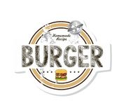 Burger label Stock Photos