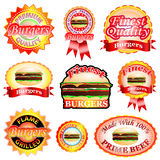Burger Labels Royalty Free Stock Images